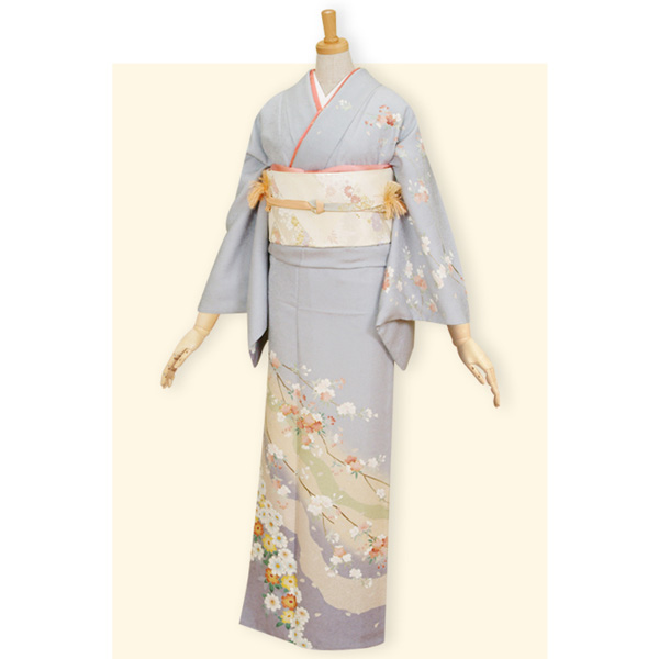 H015 【訳あり】ブルーグレー 道長どり桜と菊☆