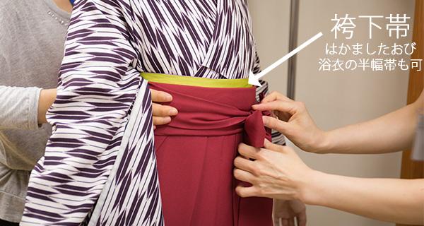 着物を袴下帯で締めてから袴を履いて結びます。